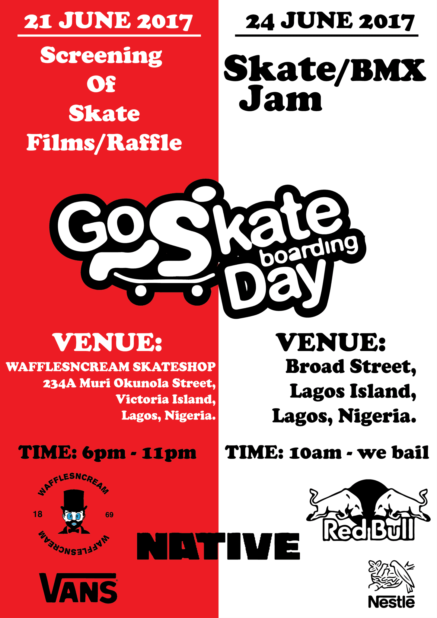 WAFFLESNCREAM present: Go Skate Day Lagos 2017
